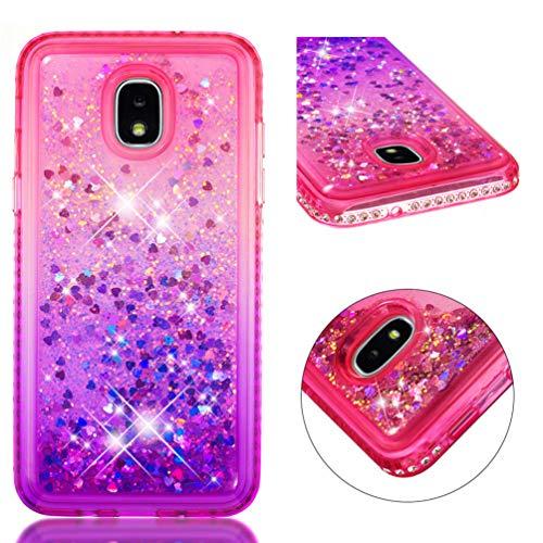 Galaxy J3V J3 V 3. Generation Hülle, durchsichtig, flüssig, glitzernd, glitzernd, fließende Herzen, Diamant-Rahmen, Ultral, stoßdämpfend, TPU Bumper Cover für Samsung Galaxy J3 2018, violett