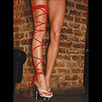 Electric Lingerie Twisted Leg Garter, Small/Large, Red