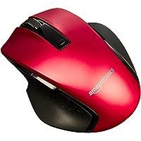 AmazonBasics Souris ergonomique sans fil compacte avec défilement rapide, Rouge