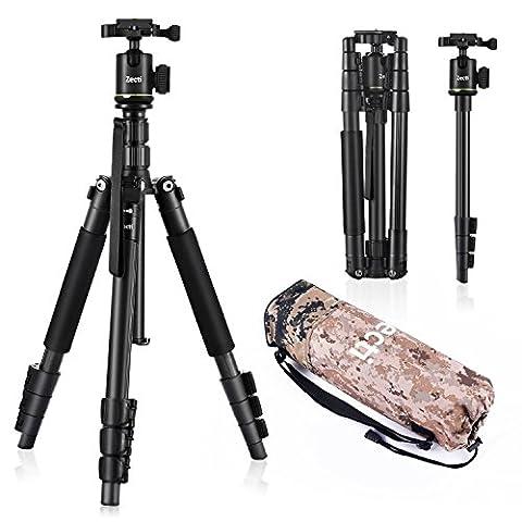 Stativ Kamera Fotostativ Zecti 2-in-1 Aluminium Tragbares Stativ Einbeinstativ (Höhe 35cm-140cm) Kit mit Kugelkopf Ein Dreibeinstativ aus Aluminium mit Tragetasche, belastbar mit bis zu 5Kg - Schwarz