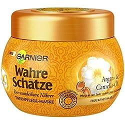 GARNIER Wahre Schätze Haar-Maske / Haarkur für intensive Haarpflege (mit Argan-Öl & Camelia-Öl - für trockenes Haar) 1 x 300ml