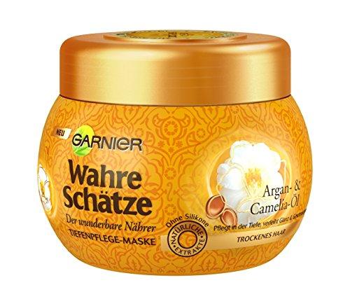 Garnier Wahre Schätze Haar-Maske, Haarkur für intensive Haarpflege (mit Argan-Öl & Camelia-Öl - für trockenes Haar) 1 x 300 ml)
