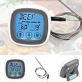 Digitales Grill-Sonde für Küche, Fleisch, Thermometer, Touchscreen, Backofen, Kochen, Thermometer, integrierter Countdown-Timer mit Alarm, großes LCD-Display, Haushaltswerkzeug