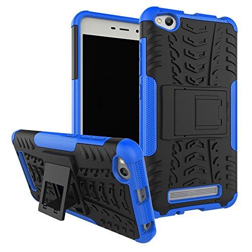 Ququcheng Kompatibel mit Xiaomi Redmi 4A Hülle,PC/TPU Doppelschicht Schutzhülle+Panzerglas Schutzfolie Hohe Qualität Case Hülle Cover mit Ständer Handyhülle Für Xiaomi Redmi 4A-Blau