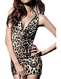 Ostenx Sexy Damen Leopard Neckholder Reizwäsche Dessous Negligee Minirock String S M