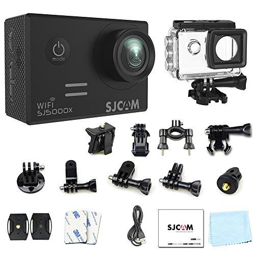 """4k Wifi Action Camera, SJCAM SJ5000X Elite Waterproof Underwater Video Camera- Gyro Stabilization/2"""" Large LCD Screen/SONY Sensor, 30M Waterproof with Case (Included)- Black"""