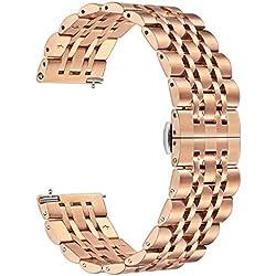TRUMiRR para Samsung Galaxy Watch 42mm Band, 20mm Correa de Reloj de Acero Inoxidable sólido Correa metálica Pulsera para Galaxy Watch 42mm, Garmin Vivomove HR