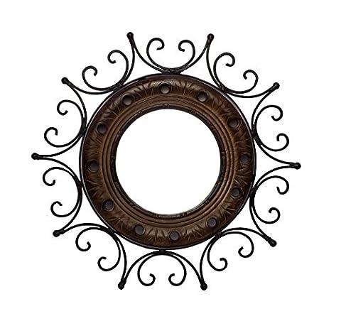 Crafts'man Wood And Wrought Iron Circular Mirror-CUM-Frame Sun Mirror