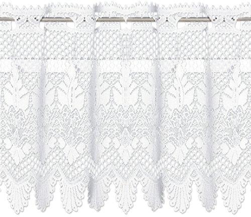 Bistrogardine Fenster Gardine Spitze Bornholm, Model wählbar, 160x60 cm Weiß, Ausführung 01