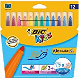 BIC Kids Kid Couleur XL Feutres de Coloriage à Pointe Large - Couleurs Assorties, Etui Carton de 12