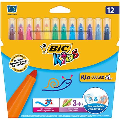 BIC Kids Fasermaler Kid Couleur XL, extra breite Filzstifte für Kinder ab 3 Jahren, im Kartonetui à 12 Stück
