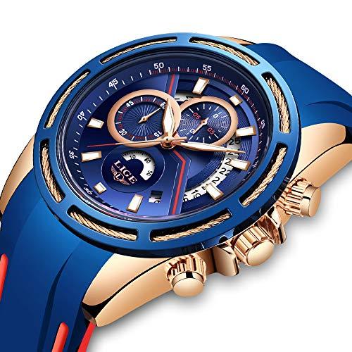 LIGE Herrenuhren Mode wasserdichte Sport Analog Quarz Uhr mit Militär Chronograph Großes Zifferblatt Braune Silikon Armbanduhr -