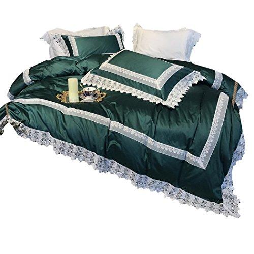 Bettbezug-Sets, Bettwäsche und Kissenbezüge, Decke decken Baumwolle Spitze vier Stück grün europäischen Luxus-Modell Zimmer Bettwäsche,King 220*240cm
