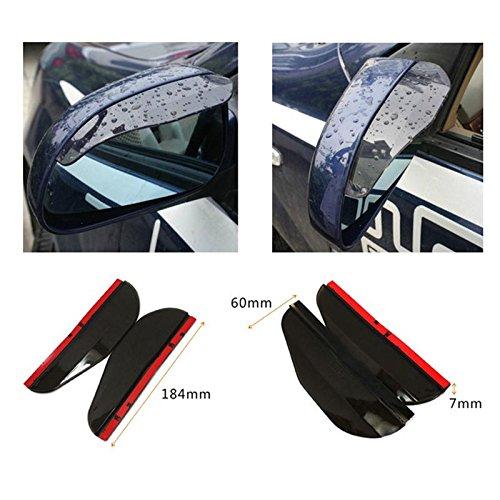calistouk Regen Schutz, Auto Seite Außenspiegel Regenschutz Cover Gap, wasserdicht Augenbrauen Regenschutz für Auto Spiegel 2Stück, schwarz
