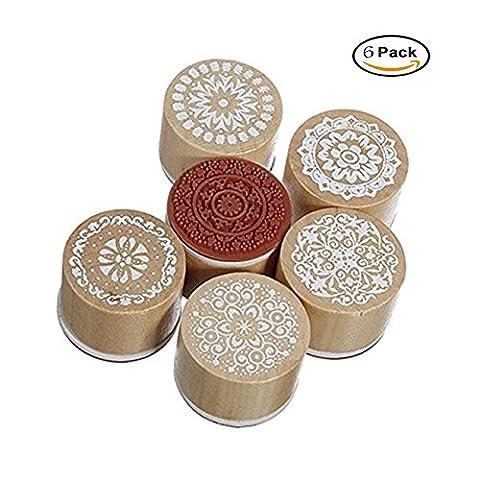 Timbre en caoutchouc en bois, Shineus Retro Vintage Style Floral Print Round Wood Rubber Stamp Scrapbook Craft Ensemble de 6