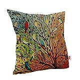 Nunubee Cotton Linen Cushion Cover Decorative Throw Pillow Case Sofa Colorful Birds
