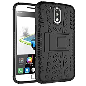 Chevron Back Cover Case for Moto G Plus 4th Gen (G4 Plus / 4th Generation Plus) (Black) [Hybrid Military Grade Bleed V2 Back Cover From Chevron]
