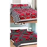 The Intellect Bazaar 160 TC Cotton King Bedsheets (Set Of 2) With 4 Pillow Covers-King Size,Black, White And Red