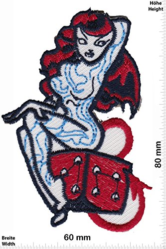 Patch - sexy Vamp Teufel - Würfel - Biker - Rocker - Chopper - Weste - Patches - Aufnäher Embleme Bügelbild Aufbügler (Vamp-nähen)