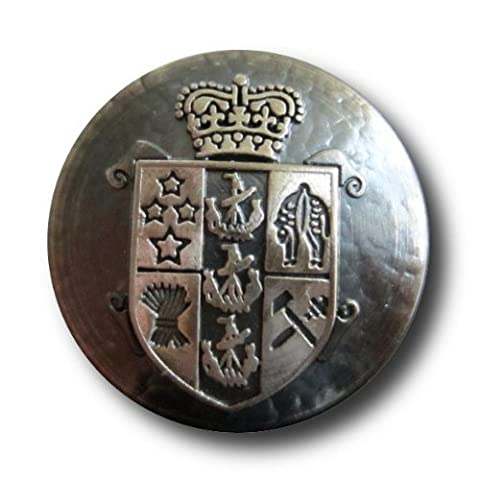 Knopfparadies Sewing Buttons - Set of 6 Noble Metal Blazer Buttons, Family Emblem and Crown - Colour: Iron Colour / Silver Ø approx.