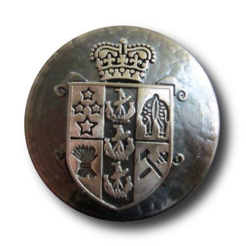 Packung - 6 besonders edle Blazerknöpfe / altsilber / Metall / Krone und Wappen / Ø 23mm - Wappen-knöpfe