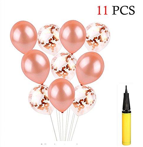 Hemore Globo de Látex,Globo de Confeti 10 PCS 12in con una Bomba de Globo Amarillo para Boda,Aniversario,Cumpleaños y Fiesta Decoración de Oro Rosa