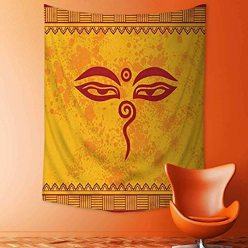 daawqee Wall Tapestries Collection Traditional Eyes and Asian Tibetan Henna Design Accessories Paprika Yellow Red Tapestry Table Cover Bedspread Beach Towel Lattern 150x200 cm Unique Home Decor