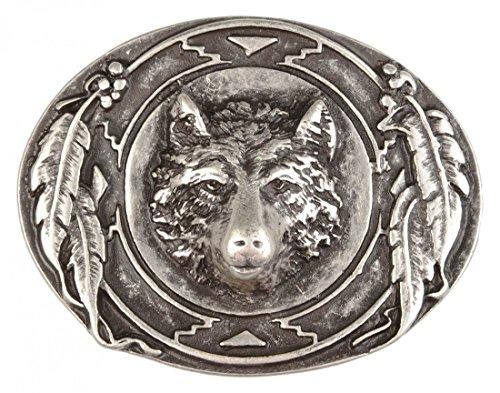 Gürtelschnalle mit Relief - Wolf mit Federschmuck - Wechselschliesse in edlem Design als besonderes (Wolf Outfits)