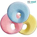 Babykissen von iQ-med® | Baby-Kissen gegen Verformung und Plattkopf | aus viskoelastischem Schaum | passt auch im Kindersitz | Kinder-Kissen, Kopf-Kissen für Säugling, Memory-Schaum (Blau)