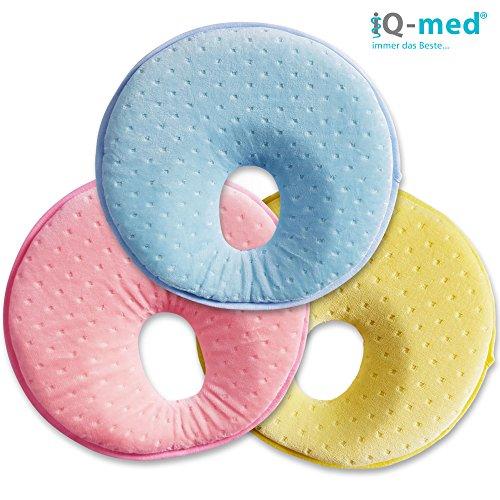 Babykissen von iQ-med® | Baby-Kissen gegen Verformung und Plattkopf | aus viskoelastischem Schaum | Kinder-Kissen, Kopf-Kissen für Säugling, Memory-Schaum (Gelb)