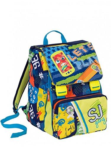 Zaino scuola sdoppiabile SJ GANG - BOY - Giallo Blu - FLIP SYSTEM - 28 LT elementari e medie 3 pattine sfogliabili
