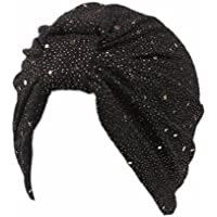 LMMVP Sombrero Mujer India África Musulmana Elástica Turbante Cap Lentejuelas Sombrero Cabeza Bufanda Wrap (B)