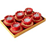 Diwali Gift Red Diya Set Of Six, Home Decor Diya Set