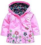QZBAOSHU 2-6 Anni Bambino Giacca Impermeabile con Cappuccio Outwear Pioggia Cappotto delle Bambine e Ragazze (90: Misura per Altezza 90-95 cm, Rosa)