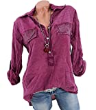 CoCo Fashion Damen Freizeit V-Ausschnitt Manschetten-Ärmel Locker Shirt Bluse Oberteile (Weinrot, EU 5XL)