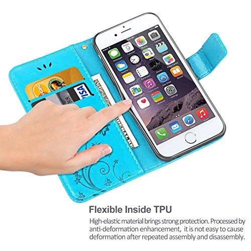 Cover iPhone 6, iDoer Retro Farfalla Fiore Modello Stampata Design Con Cinturino da Polso Custodia in pelle Protettiva Cuoio Portafoglio Flip Cover per Apple iPhone 6/6S Grigio Blu