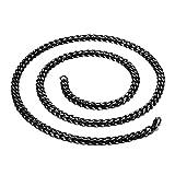 Daesar Collana Dell'Acciaio Inossidabile per La Catena Unisex-Semplice Pendente Senza Collo per Il Nero Delle Donne 60Cm
