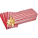 50 Red & White Pick n Mix Candy Stripe Paper Sweet / Party / Popcorn Bags 4 x 9.5 x 3 by Bag It Plastics