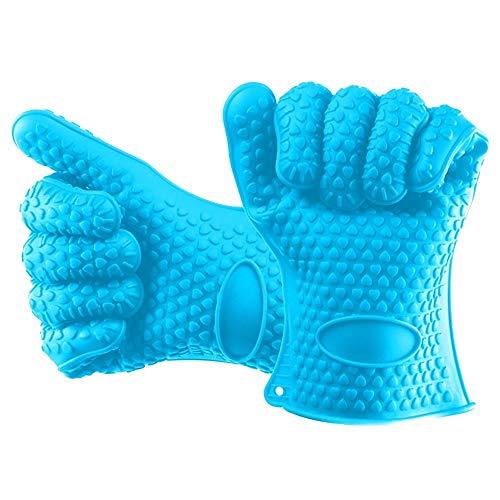 ecue Gloves2Pcs Hauptgrill-Silikon-Hitze-Halter-Handschuh-Küchen-Ofen-Handschuh-Koch-beständige Handschuhe Freies Shipping-K1, blau ()