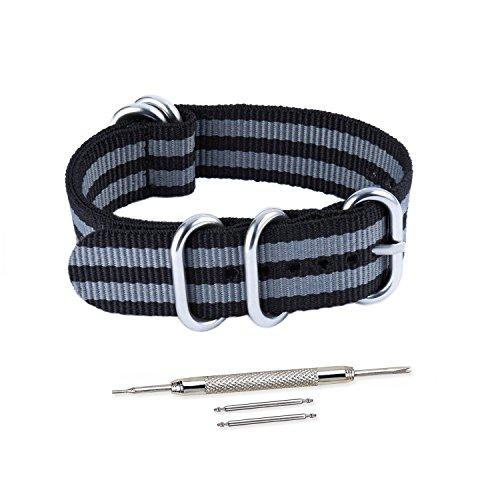VINBANDUnisexZuluNylonUhrenarmband mitEdelstahl Silberne Schnalle 22mm Schwarze Graue Streifen