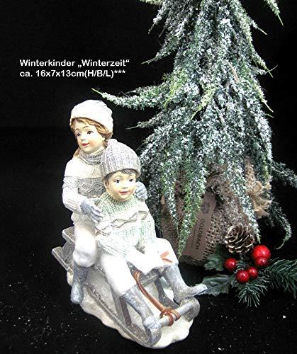 Bollweg Formano Winterkinder auf Schlitten Winterzeit Creme/grau/Silber Höhe ca. 16 cm