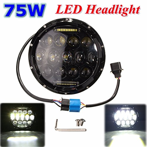 AUDEW 7 pollici Rotonda 75W LED Headlight (Alto / Basso) per Jeep Wrangler Land Rover Harley-Davidson Hummer - 2003 Hummer H1