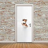 XIAOXINYUAN 3D Etiqueta De La Puerta Creativa Voyeur DIY Extraíble Impermeable Murales Adhesivos Wallpaper para Habitación
