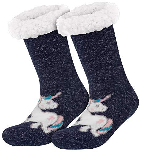 style3 Compagno Einhorn Kuschelsocken mit ABS Anti Rutsch Sohle Wintersocken Damen Mädchen Socken 1 Paar Einheitsgröße, Farbe:Einhorn Marine