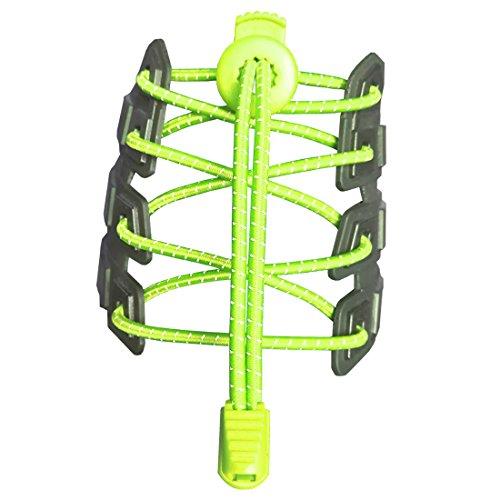 Canwn [2 Pares] Cordones Elásticos para Zapatos, Atar y Sin Nudo Reflexivo Cordones de Zapatos con Longitud de 120cm para Maratón y Triatlón Atletas,Corredores,Niños, Ancianos(Amarillo Neón)