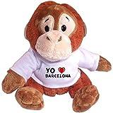 Mono (orangután) de peluche con Amo Barcelona en la camiseta (ciudad / asentamiento)