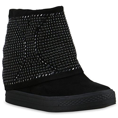Hidden Wedge Boot (Stiefelparadies Damen Stiefeletten Keilabsatz Nieten Hidden Wedges Boots Schuhe 129681 Schwarz Nieten 40 | Flandell)