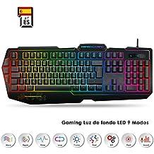 EMPIRE GAMING – Teclado Gaming K900 QWERTY- 105 Teclas Semi-mecánicas- Retroiluminación LED RGB, 9 Modos: 8 predefinidos y 1 Personalizable - 19 Teclas Anti-ghosting - Teclados Gaming de Juegos