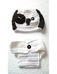 Réf583 BB.174 - Ensemble 2 Pièces Bébé Enfant Fille Garçon - Bonnet Culotte  Chien Chiot Blanc Marron - Crochet… d23ce0d61d1