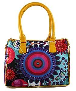 #1192 Damen Designer Handtasche Tasche Henkeltasche Patchwork Bowlingbag Kunstleder Canvas Braun Khaki Schwarz Blau Orange Gelb (Gelb)
